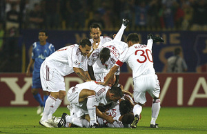 Debrecen players celebrate after scoring against Levski Sofia during their Champions League soccer match in Sofia
